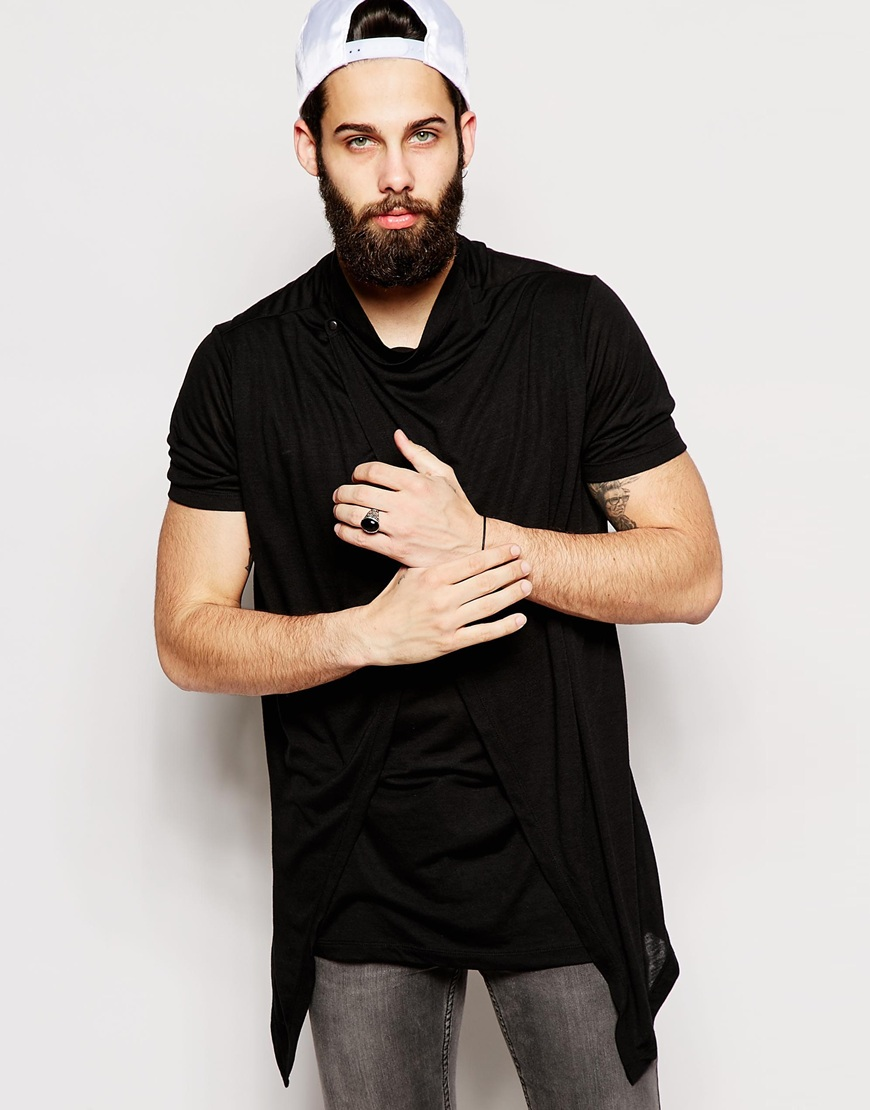 ASOS Super Longline T-Shirt With Popper Fastening and Stepped Hem £20.00